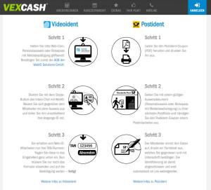 Vexcash bietet als Identifierzugsnverfahren Post-Ident und Video-Ident an