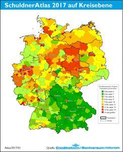 Schuldneratlas Deutschland auf Kreisebene. Bild: Creditreform/Boniversum/microm