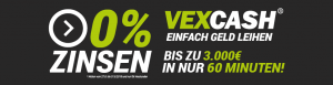 Vexcash 0 % Zinsen - nur bis zum 31.08.2019!